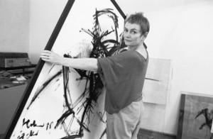 Foto: Klaus Mehner; Quelle: Bundesstiftung Aufarbeitung; Bärbel Bohley in ihrem Atelier 1988